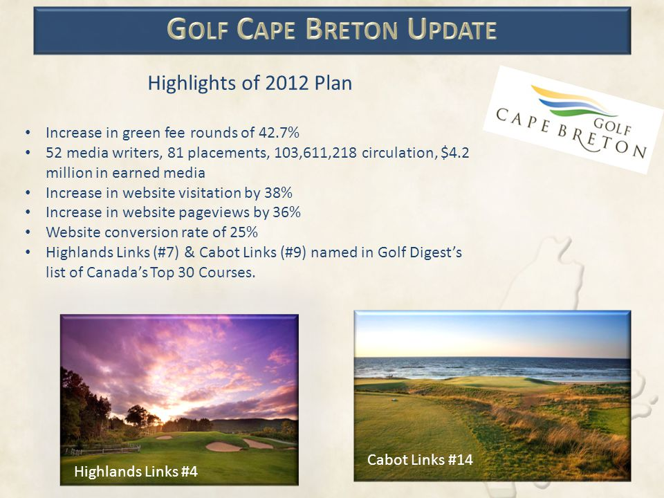 Highlights of 2012 Plan Increase in green fee rounds of 42.7% 52 media writers, 81 placements, 103,611,218 circulation, $4.2 million in earned media I