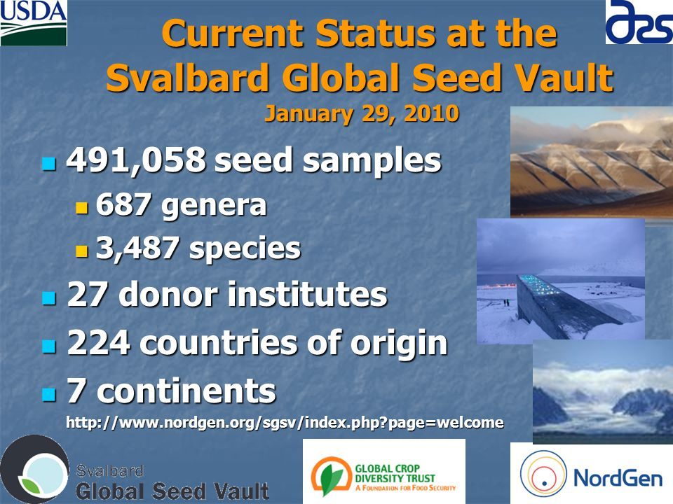 Current Status at the Svalbard Global Seed Vault January 29, 2010 491,058 seed samples 491,058 seed samples 687 genera 687 genera 3,487 species 3,487 species 27 donor institutes 27 donor institutes 224 countries of origin 224 countries of origin 7 continents 7 continentshttp://www.nordgen.org/sgsv/index.php page=welcome