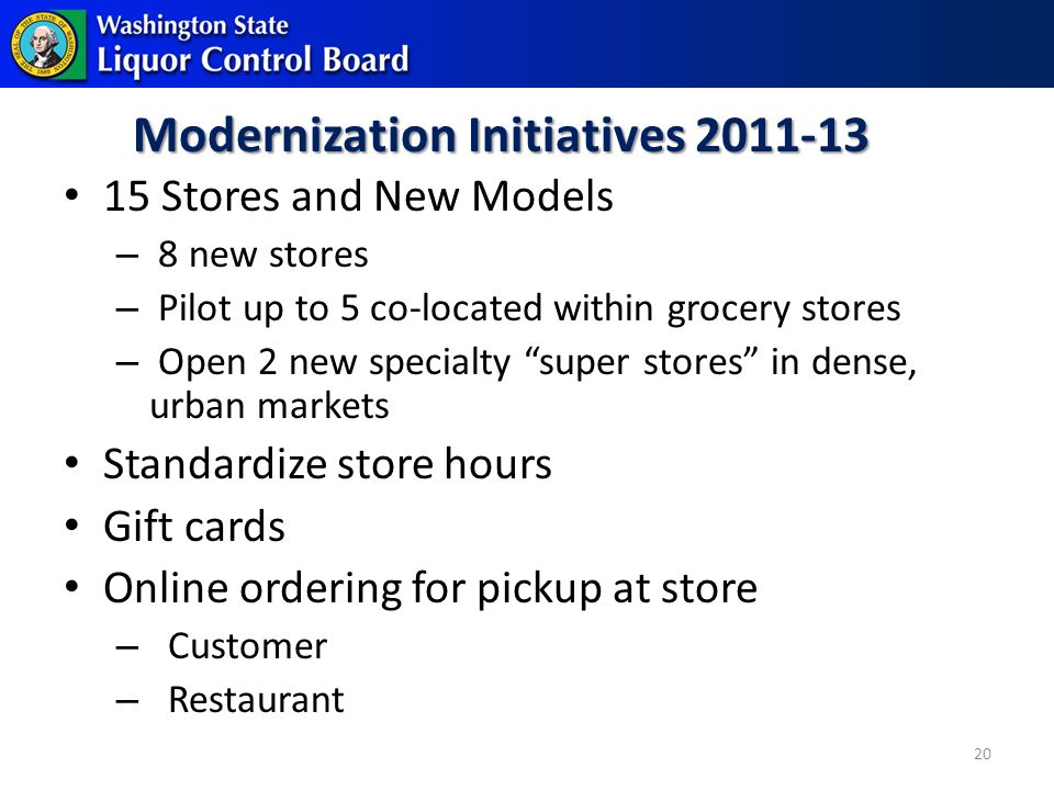 Modernization Initiatives 2011-13 15 Stores and New Models – 8 new stores – Pilot up to 5 co-located within grocery stores – Open 2 new specialty super stores in dense, urban markets Standardize store hours Gift cards Online ordering for pickup at store – Customer – Restaurant 20