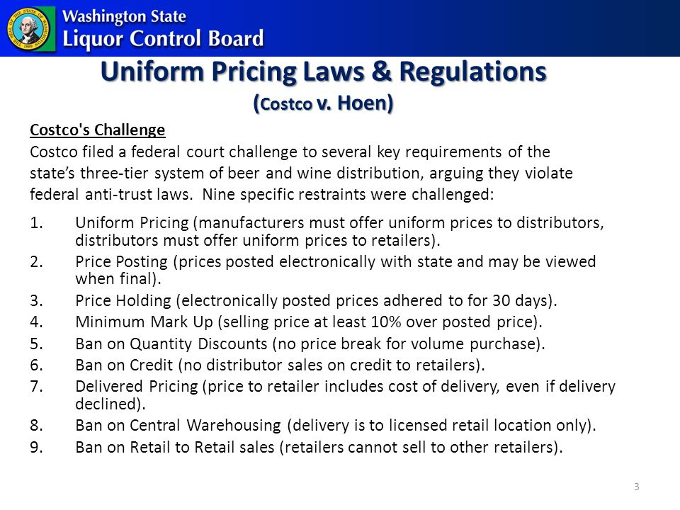 Uniform Pricing Laws & Regulations ( Costco v.