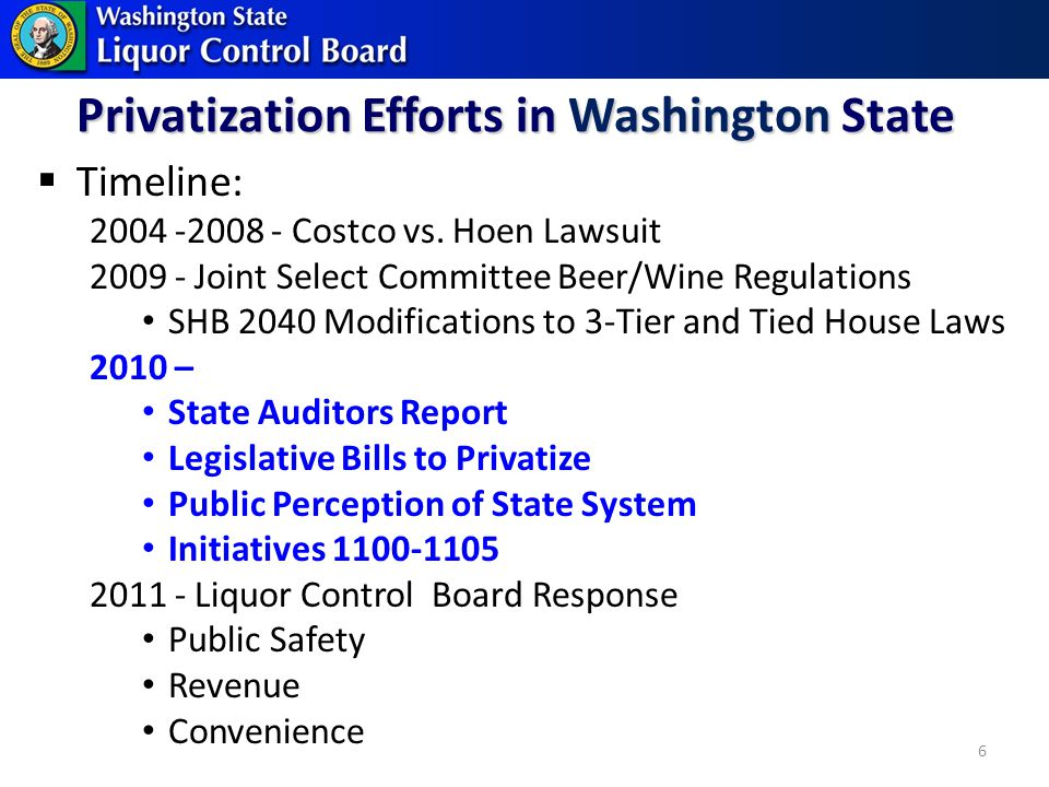 Privatization Efforts in Washington State Timeline: 2004 -2008 - Costco vs.