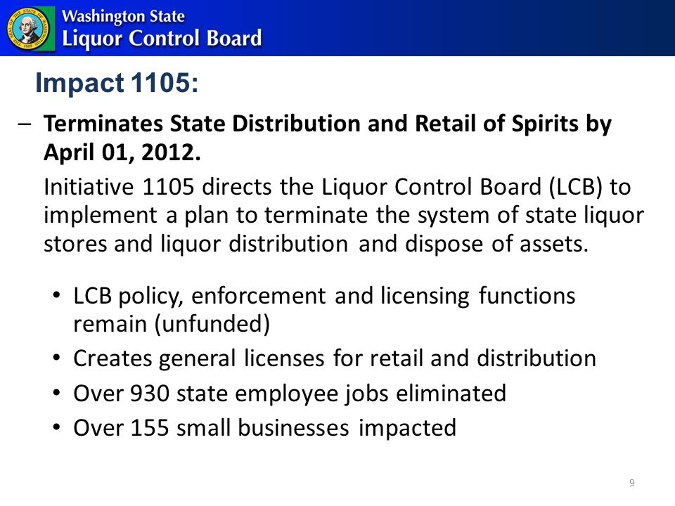 Impact 1105: –Terminates State Distribution and Retail of Spirits by April 01, 2012.