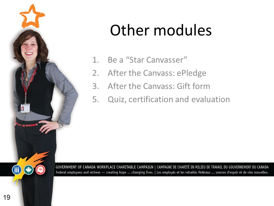 Other modules 1. Be a Star Canvasser 2.