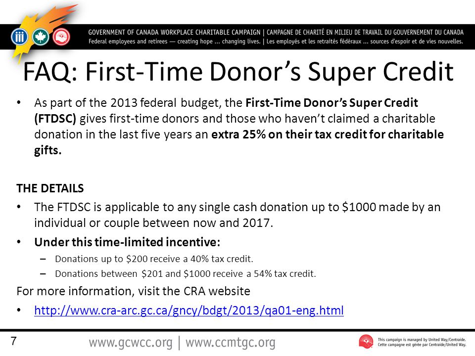 FAQ: First-Time Donors Super Credit As part of the 2013 federal budget, the First-Time Donors Super Credit (FTDSC) gives first-time donors and those who havent claimed a charitable donation in the last five years an extra 25% on their tax credit for charitable gifts.
