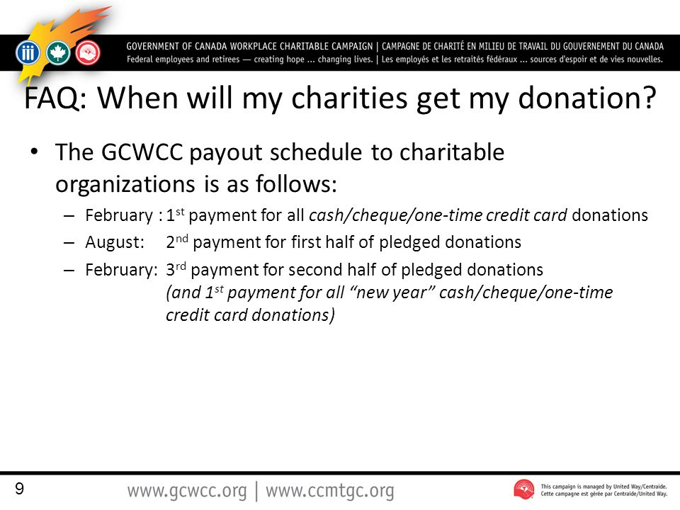 FAQ: When will my charities get my donation.