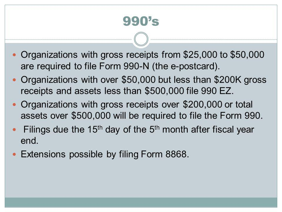 990s Organizations with gross receipts from $25,000 to $50,000 are required to file Form 990-N (the e-postcard).