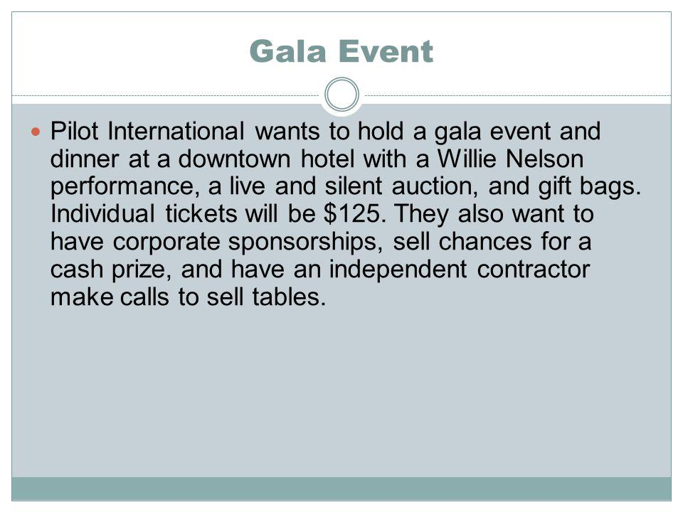 Gala Event Pilot International wants to hold a gala event and dinner at a downtown hotel with a Willie Nelson performance, a live and silent auction, and gift bags.