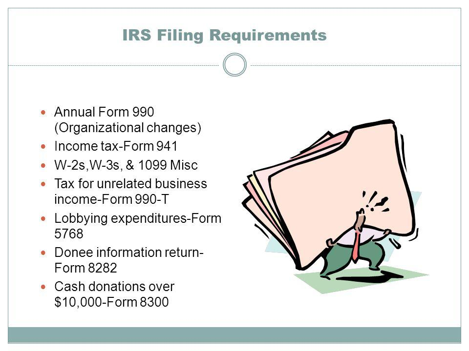 IRS Filing Requirements Annual Form 990 (Organizational changes) Income tax-Form 941 W-2s,W-3s, & 1099 Misc Tax for unrelated business income-Form 990-T Lobbying expenditures-Form 5768 Donee information return- Form 8282 Cash donations over $10,000-Form 8300