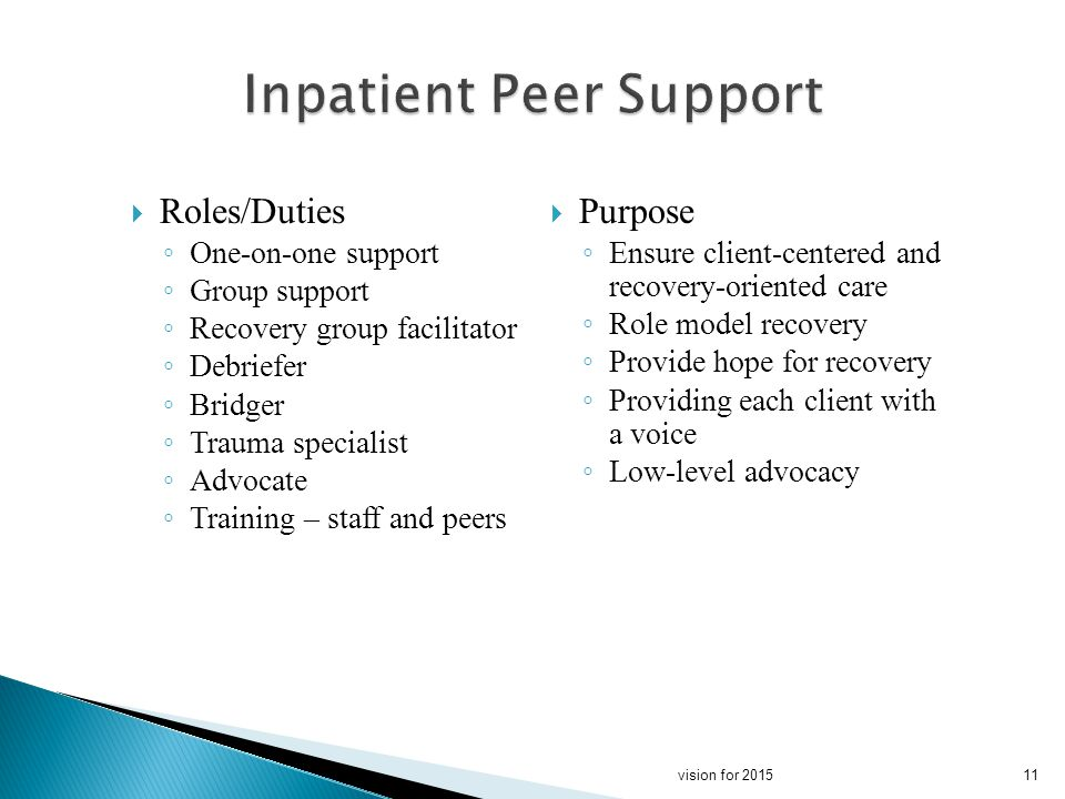 Roles/Duties One-on-one support Group support Recovery group facilitator Debriefer Bridger Trauma specialist Advocate Training – staff and peers Purpose Ensure client-centered and recovery-oriented care Role model recovery Provide hope for recovery Providing each client with a voice Low-level advocacy 11vision for 2015