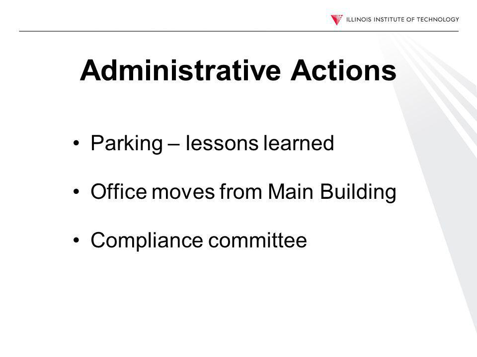 Administrative Actions Parking – lessons learned Office moves from Main Building Compliance committee
