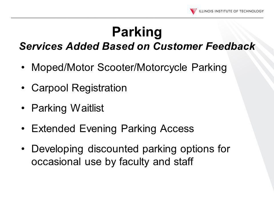Parking Services Added Based on Customer Feedback Moped/Motor Scooter/Motorcycle Parking Carpool Registration Parking Waitlist Extended Evening Parking Access Developing discounted parking options for occasional use by faculty and staff