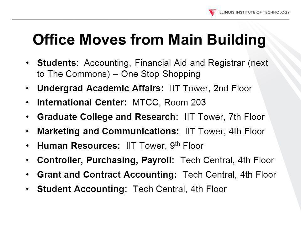 Office Moves from Main Building Students: Accounting, Financial Aid and Registrar (next to The Commons) – One Stop Shopping Undergrad Academic Affairs: IIT Tower, 2nd Floor International Center: MTCC, Room 203 Graduate College and Research: IIT Tower, 7th Floor Marketing and Communications: IIT Tower, 4th Floor Human Resources: IIT Tower, 9 th Floor Controller, Purchasing, Payroll: Tech Central, 4th Floor Grant and Contract Accounting: Tech Central, 4th Floor Student Accounting: Tech Central, 4th Floor