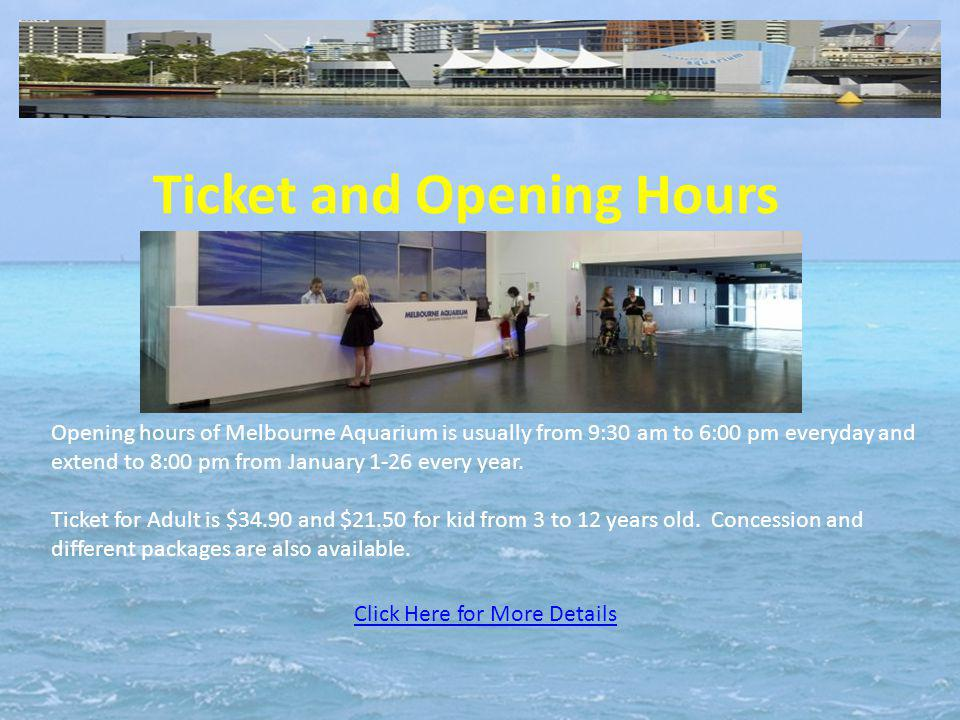 Ticket and Opening Hours Click Here for More Details Opening hours of Melbourne Aquarium is usually from 9:30 am to 6:00 pm everyday and extend to 8:00 pm from January 1-26 every year.