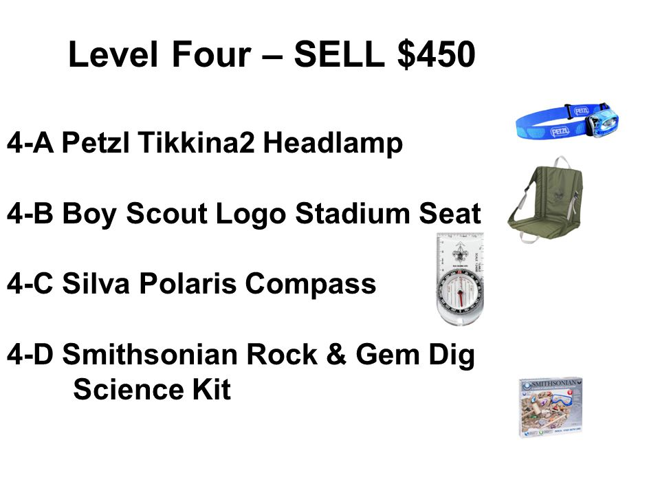 Level Three – SELL $350 3-A Boy Scout Pocket Knife 3-B Boy Scout CamelBak Bottle.75L 3-C Introducing The Mars Dig.