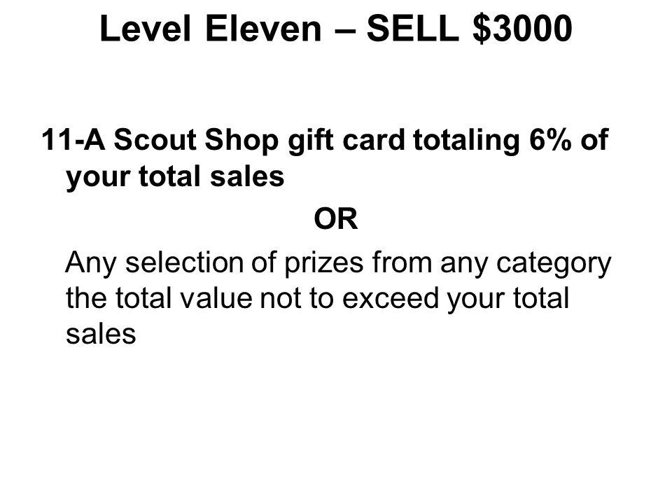 Level Ten – SELL $2300 10-A Parallax Boe-Bot 10-B Eureka! Midori 2-Person Tent 10-C Osprey Ace 48 Backpack 10-D Goal Zero Guide 10 Plus Adventure Kit
