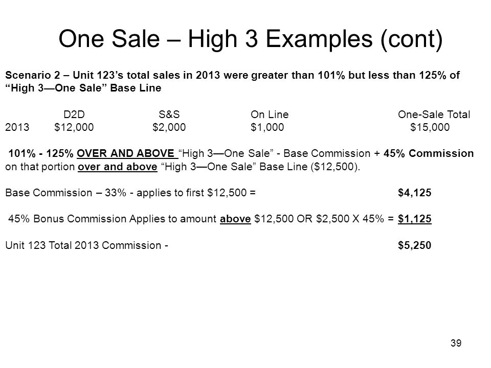 38 Scenario 1 – Unit 123 total sales in 2013 were equal to or less than High 3One Sale Base Line.