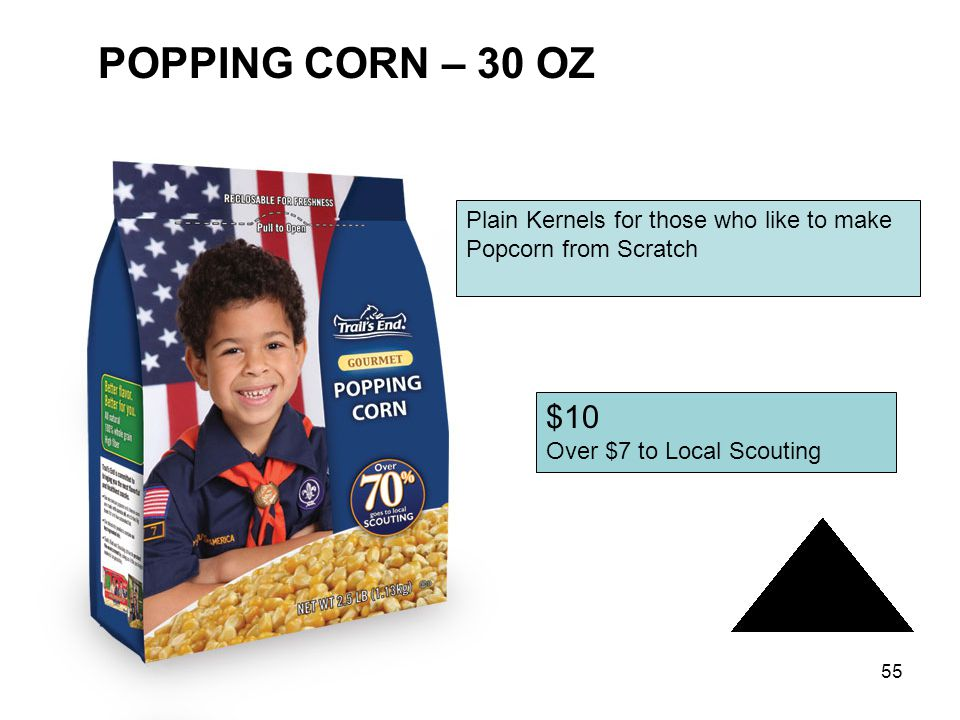 54 CARAMEL CORN – 11 OZ $10 Over $7 to Local Scouting Traditional Favorite – Crispy Popcorn with Caramel Flavor