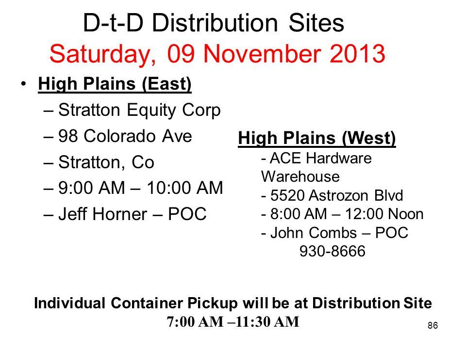 D-t-D Distribution Sites Saturday, 09 November 2013 Ute - ACE Hardware Warehouse –5520 Astrozon Blvd –8:00 AM – 11:30 –John Combs – POC 930-8666 Ute –