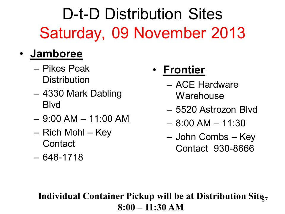 D-t-D Distribution Sites Saturday, 09 November 2013 High Plains (East) –Stratton Equity Corp –98 Colorado Ave –Stratton, Co –9:00 AM – 10:00 AM –Jeff Horner – POC Individual Container Pickup will be at Distribution Site 7:00 AM –11:30 AM High Plains (West) - ACE Hardware Warehouse - 5520 Astrozon Blvd - 8:00 AM – 12:00 Noon - John Combs – POC 930-8666 86