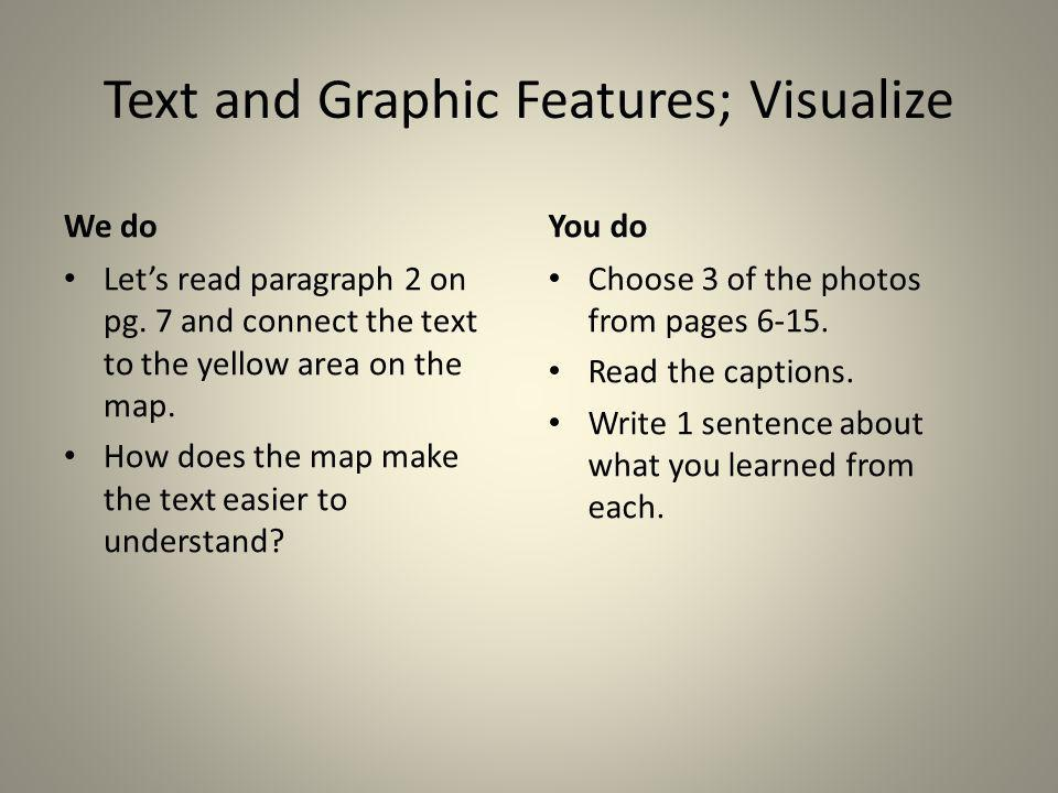 Text and Graphic Features; Visualize We do Lets read paragraph 2 on pg. 7 and connect the text to the yellow area on the map. How does the map make th