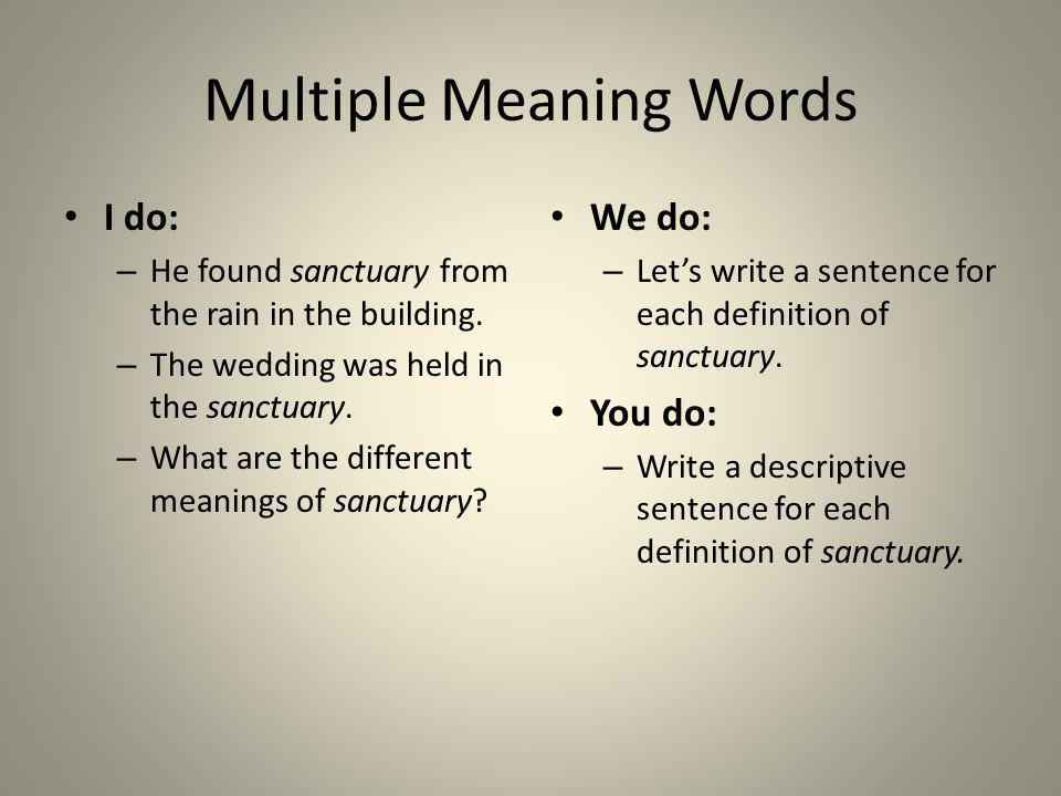 Multiple Meaning Words I do: – He found sanctuary from the rain in the building. – The wedding was held in the sanctuary. – What are the different mea