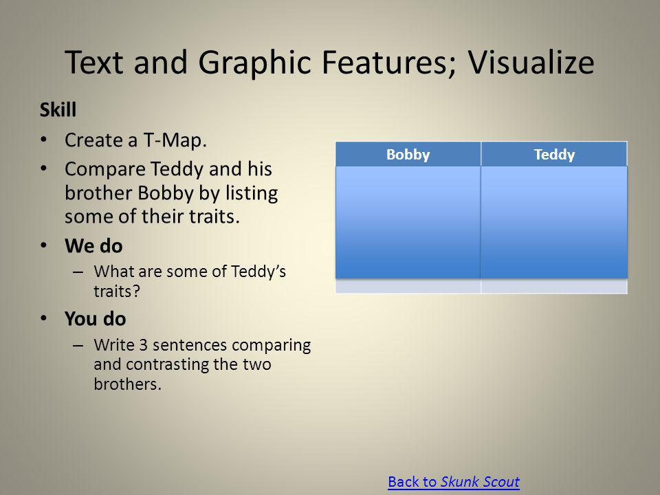 Text and Graphic Features; Visualize Skill Create a T-Map. Compare Teddy and his brother Bobby by listing some of their traits. We do – What are some