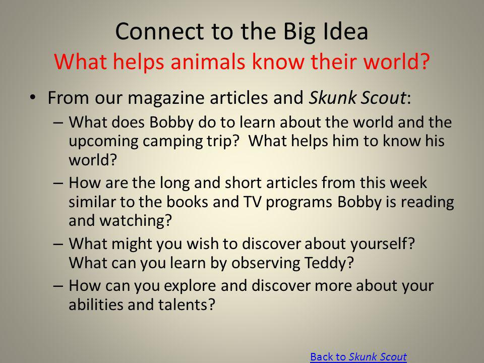 Connect to the Big Idea What helps animals know their world? From our magazine articles and Skunk Scout: – What does Bobby do to learn about the world