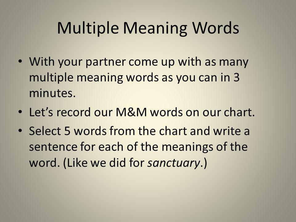 Multiple Meaning Words With your partner come up with as many multiple meaning words as you can in 3 minutes. Lets record our M&M words on our chart.