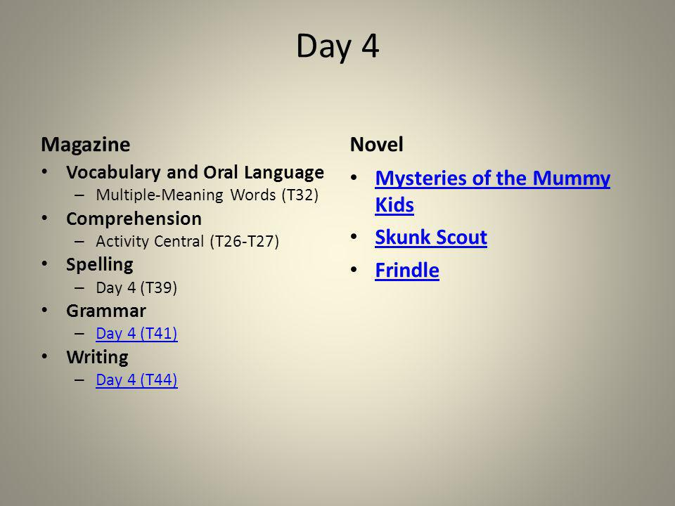 Day 4 Magazine Vocabulary and Oral Language – Multiple-Meaning Words (T32) Comprehension – Activity Central (T26-T27) Spelling – Day 4 (T39) Grammar –