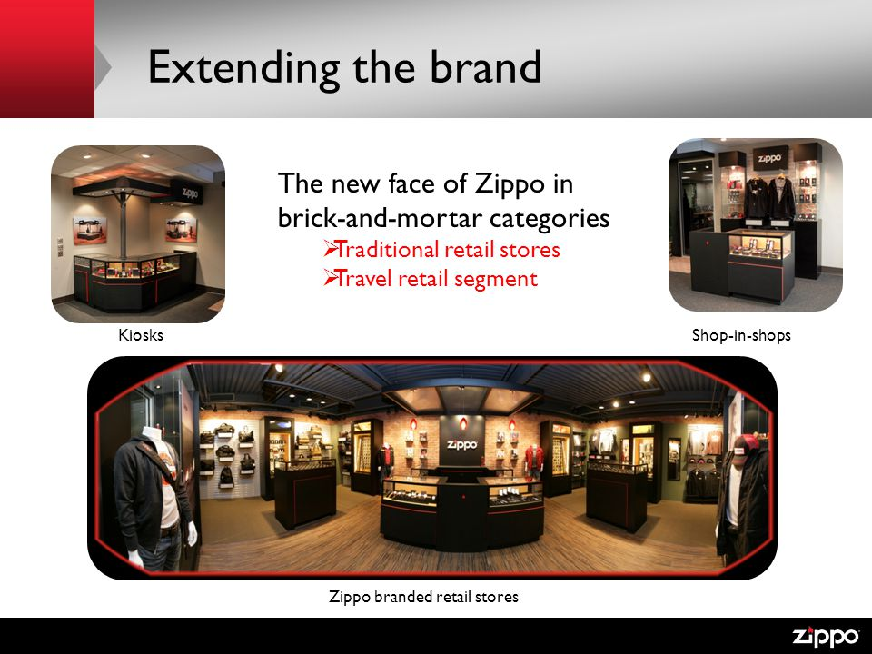 Extending the brand The new face of Zippo in brick-and-mortar categories Traditional retail stores Travel retail segment Zippo branded retail stores KiosksShop-in-shops
