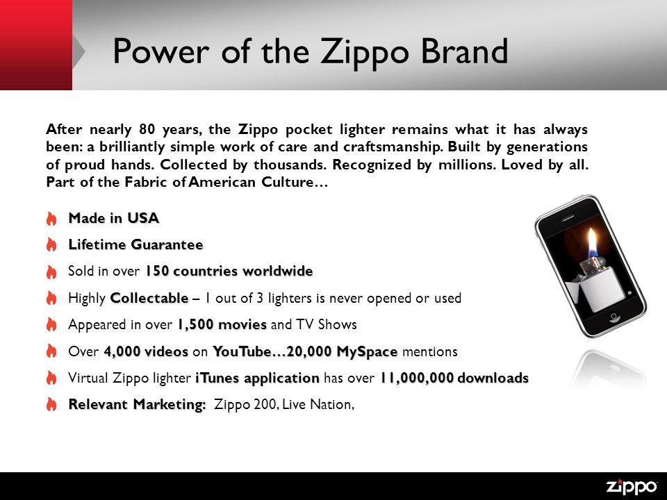 Power of the Zippo Brand After nearly 80 years, the Zippo pocket lighter remains what it has always been: a brilliantly simple work of care and craftsmanship.