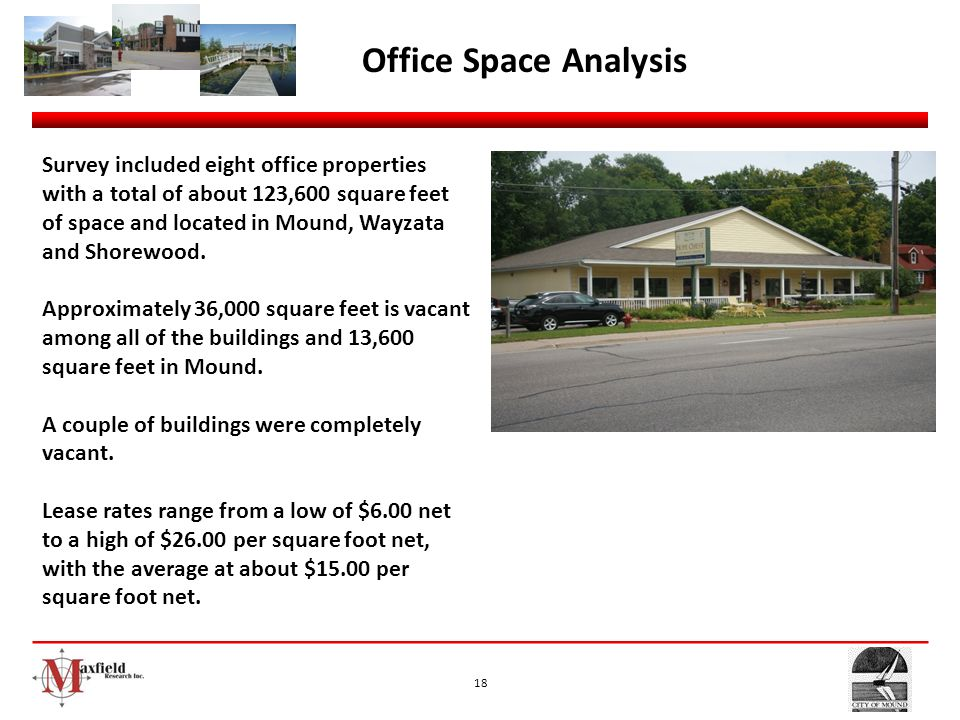 18 Office Space Analysis Survey included eight office properties with a total of about 123,600 square feet of space and located in Mound, Wayzata and