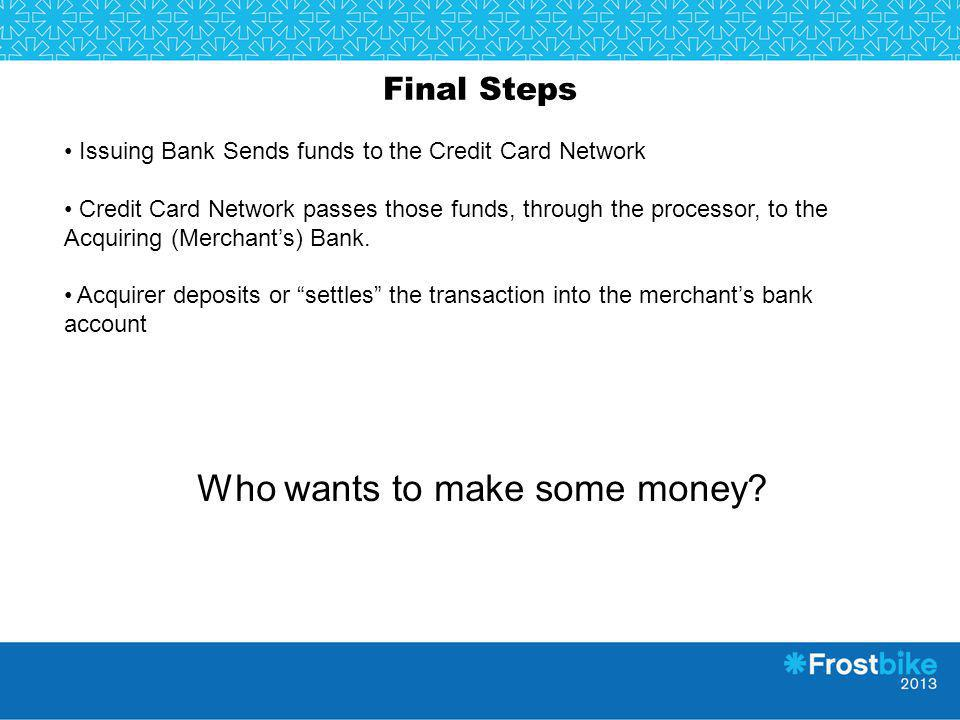 Final Steps Issuing Bank Sends funds to the Credit Card Network Credit Card Network passes those funds, through the processor, to the Acquiring (Merch
