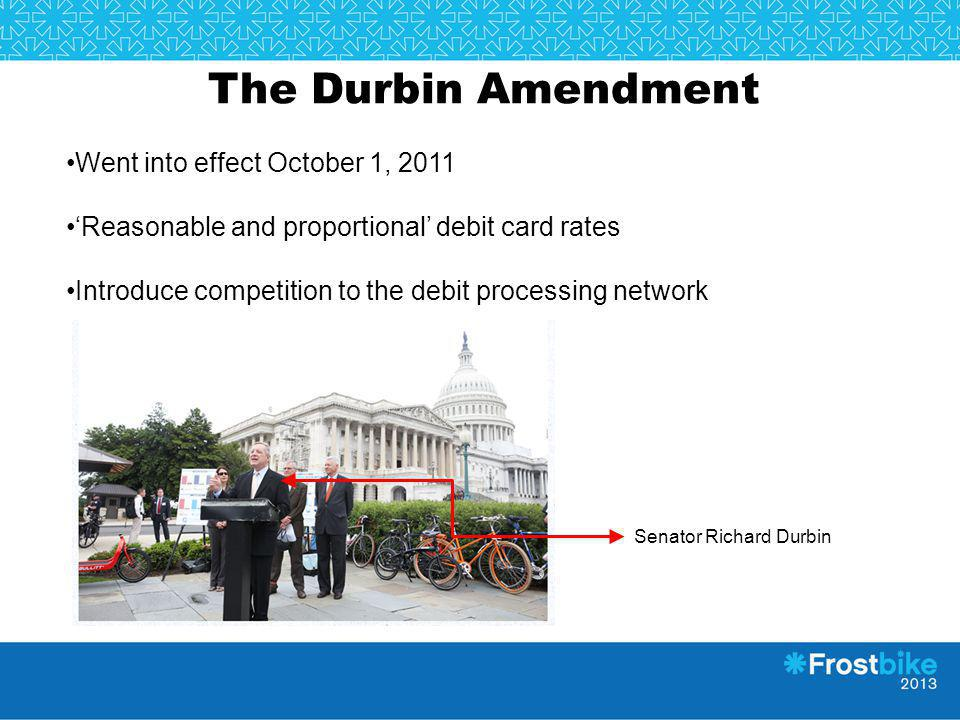The Durbin Amendment Went into effect October 1, 2011 Reasonable and proportional debit card rates Introduce competition to the debit processing netwo
