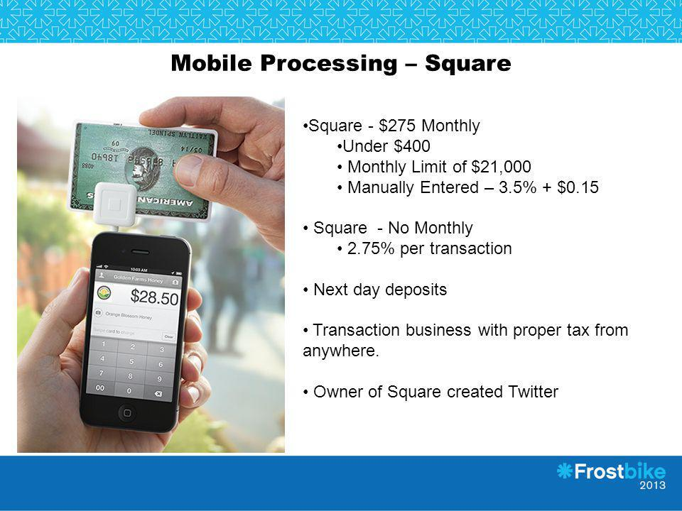 Mobile Processing – Square Square - $275 Monthly Under $400 Monthly Limit of $21,000 Manually Entered – 3.5% + $0.15 Square - No Monthly 2.75% per tra