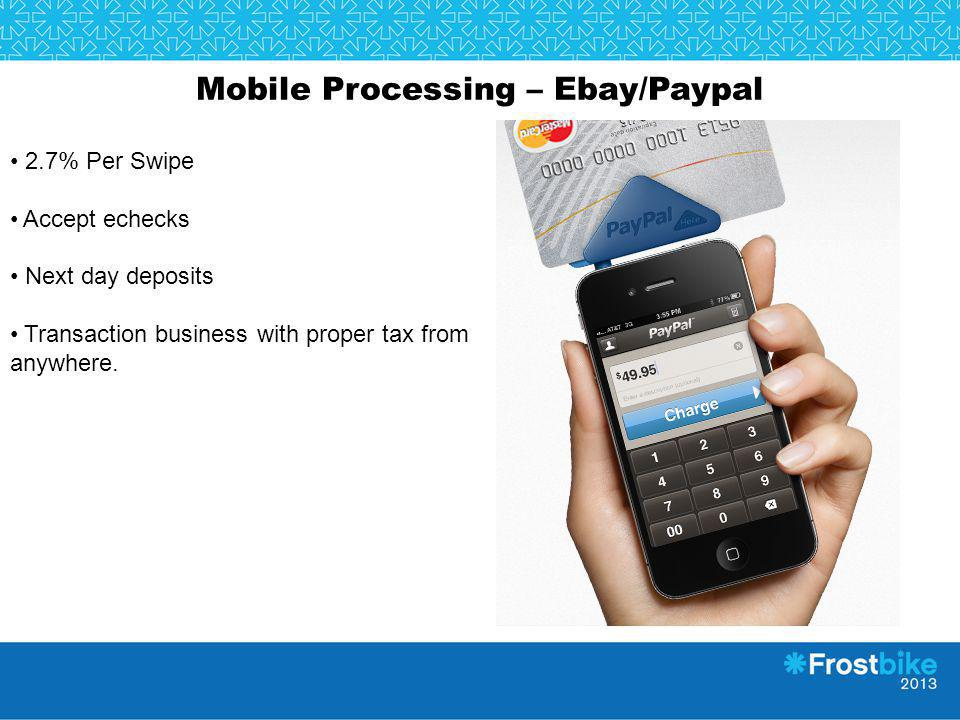 Mobile Processing – Ebay/Paypal 2.7% Per Swipe Accept echecks Next day deposits Transaction business with proper tax from anywhere.
