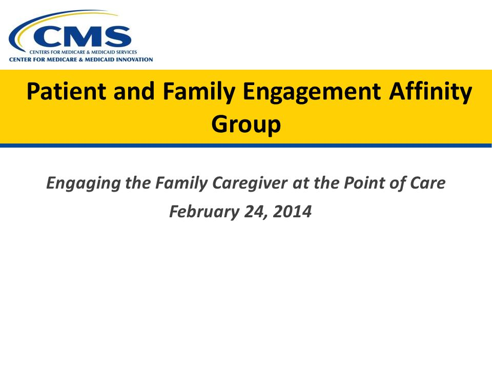 Patient and Family Engagement Affinity Group Engaging the Family Caregiver at the Point of Care February 24, 2014