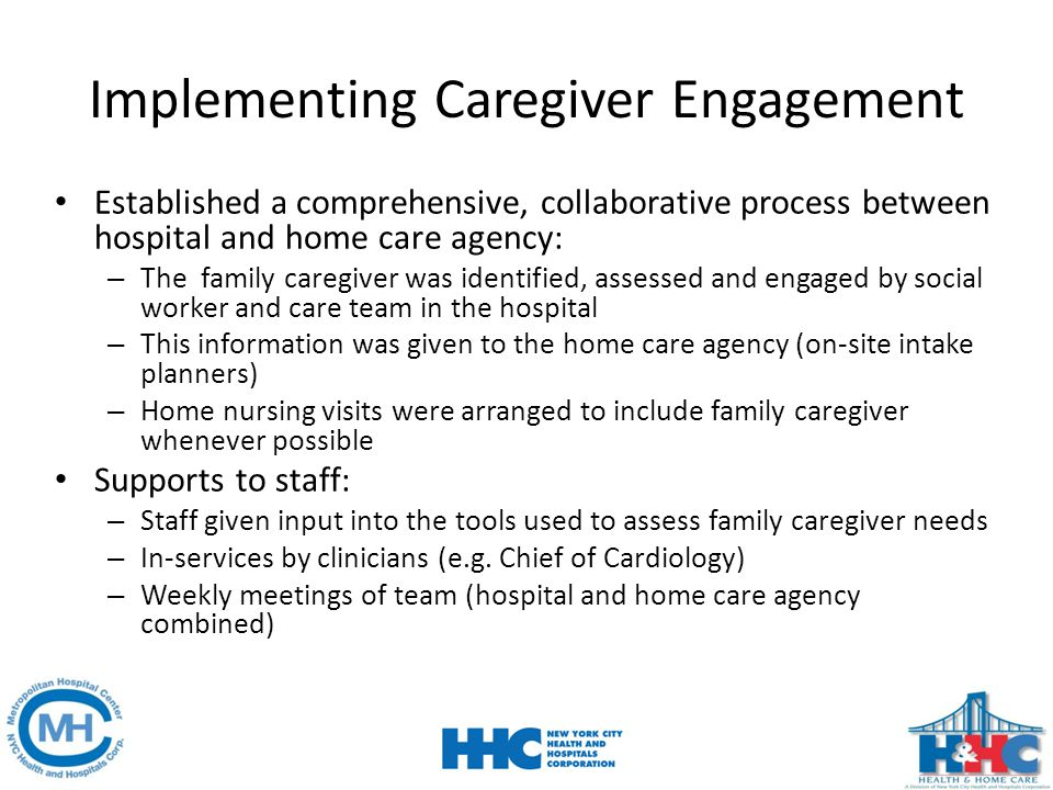 Implementing Caregiver Engagement Established a comprehensive, collaborative process between hospital and home care agency: – The family caregiver was