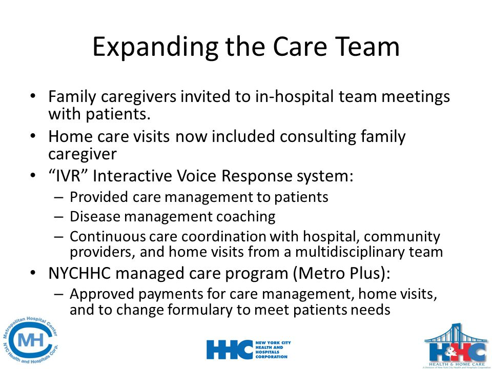 Expanding the Care Team Family caregivers invited to in-hospital team meetings with patients. Home care visits now included consulting family caregive