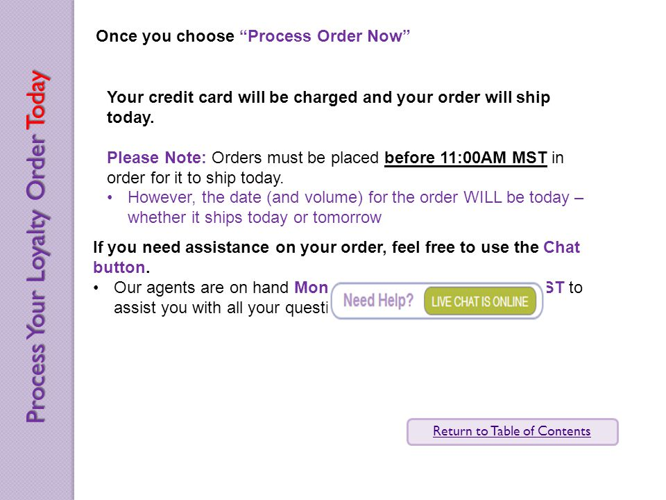 Once you choose Process Order Now Your credit card will be charged and your order will ship today.
