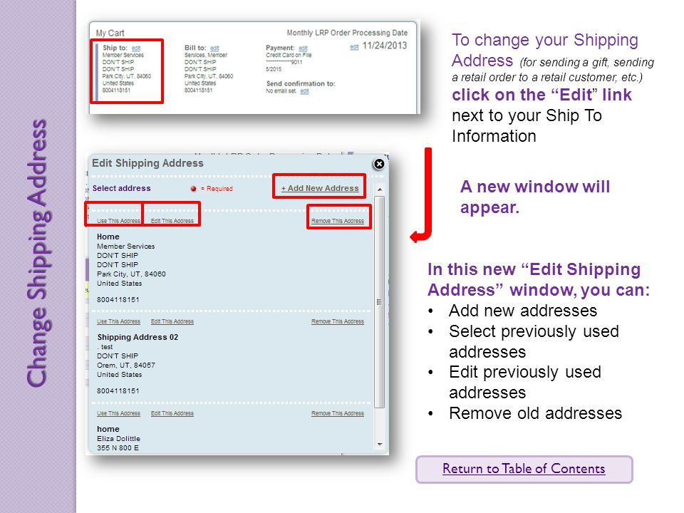 To change your Shipping Address (for sending a gift, sending a retail order to a retail customer, etc.) click on the Edit link next to your Ship To Information A new window will appear.