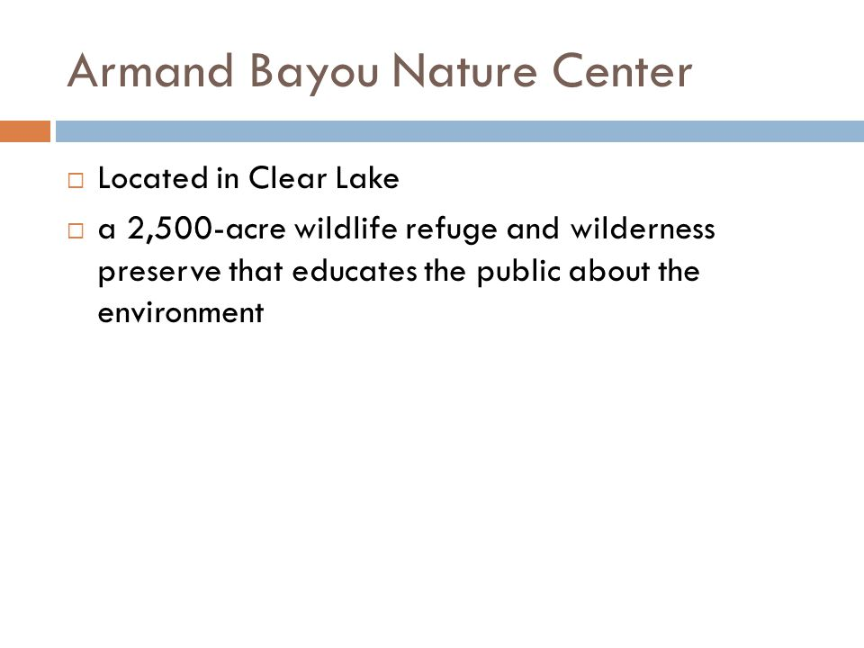 Armand Bayou Nature Center Located in Clear Lake a 2,500-acre wildlife refuge and wilderness preserve that educates the public about the environment
