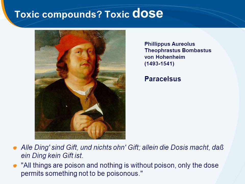 Toxic compounds? Toxic dose Alle Ding' sind Gift, und nichts ohn' Gift; allein die Dosis macht, daß ein Ding kein Gift ist.