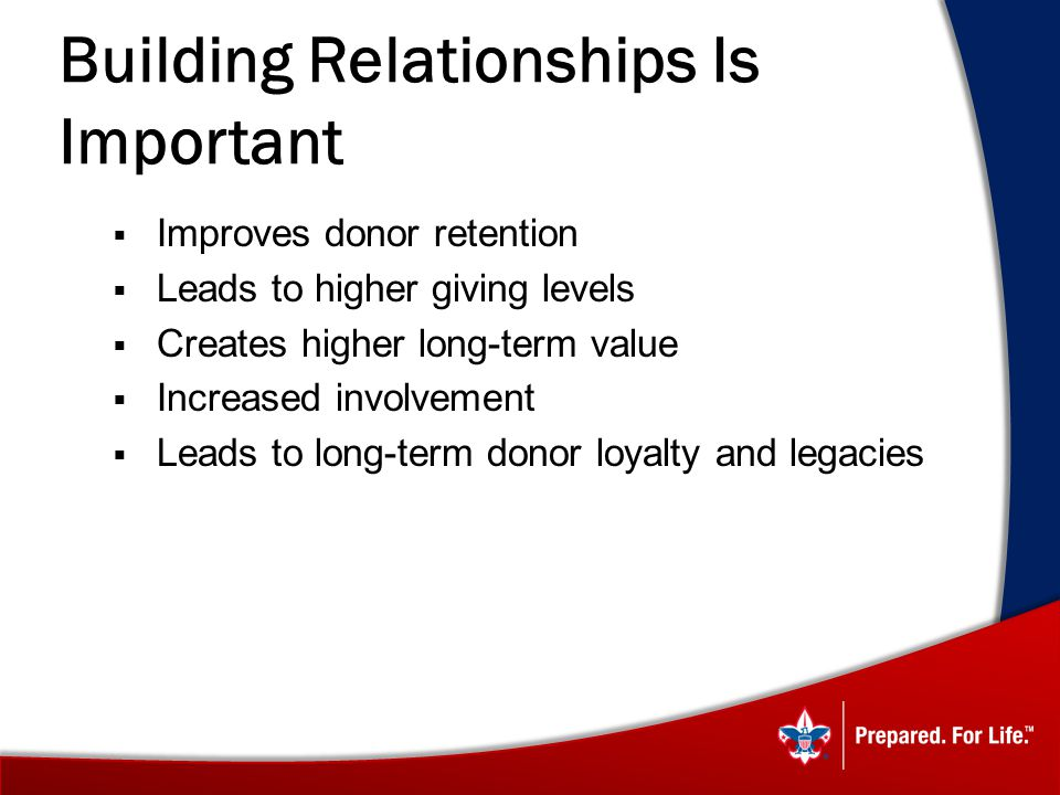 Building Relationships Is Important Improves donor retention Leads to higher giving levels Creates higher long-term value Increased involvement Leads to long-term donor loyalty and legacies