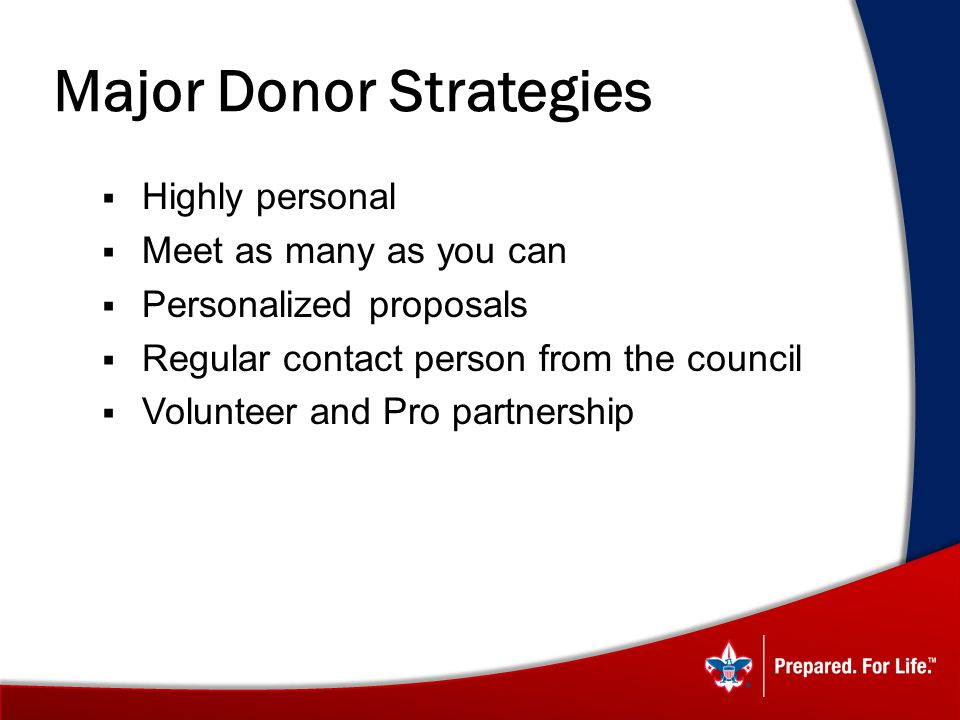Major Donor Strategies Highly personal Meet as many as you can Personalized proposals Regular contact person from the council Volunteer and Pro partnership