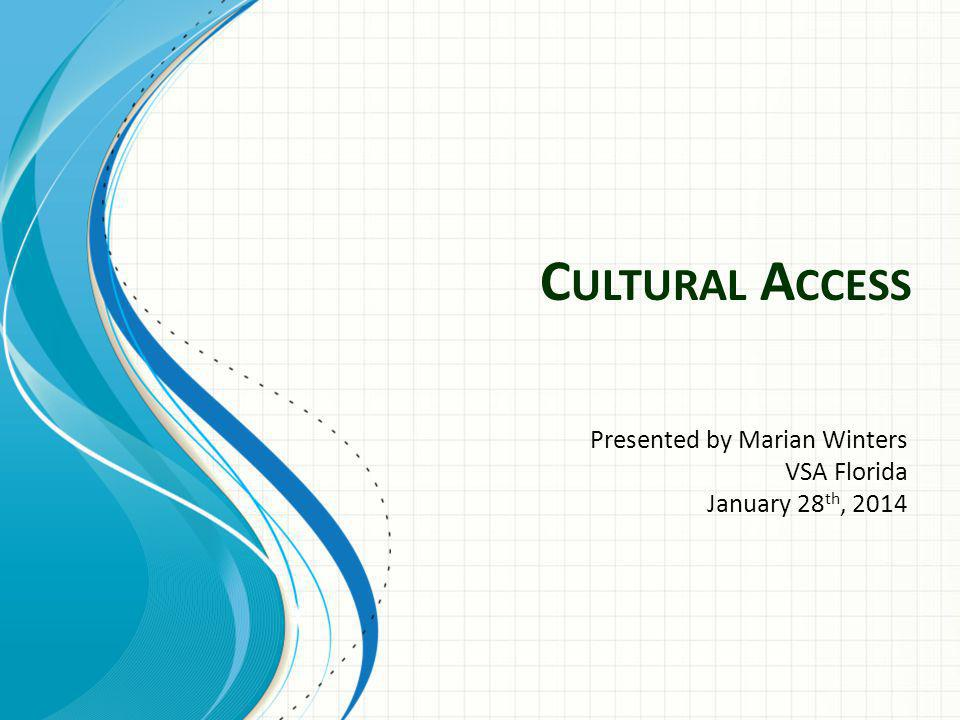 C ULTURAL A CCESS Presented by Marian Winters VSA Florida January 28 th, 2014