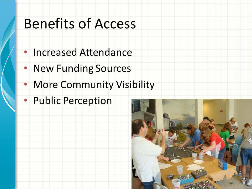 Benefits of Access Increased Attendance New Funding Sources More Community Visibility Public Perception