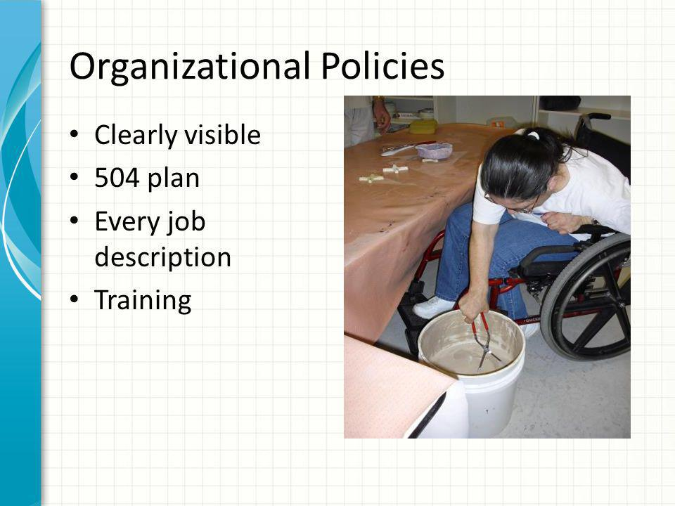 Organizational Policies Clearly visible 504 plan Every job description Training
