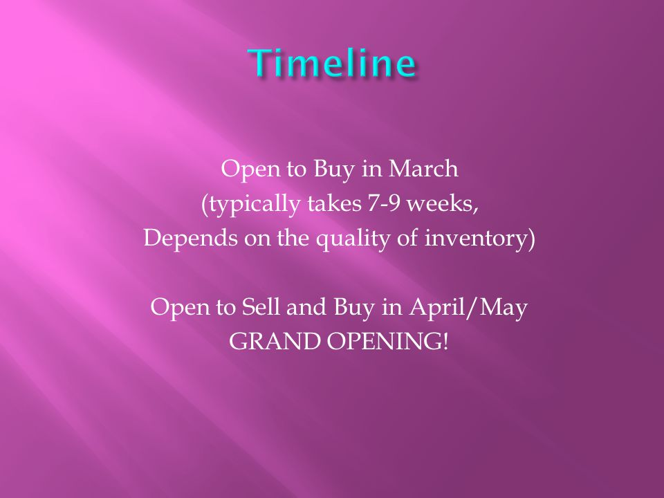Open to Buy in March (typically takes 7-9 weeks, Depends on the quality of inventory) Open to Sell and Buy in April/May GRAND OPENING!