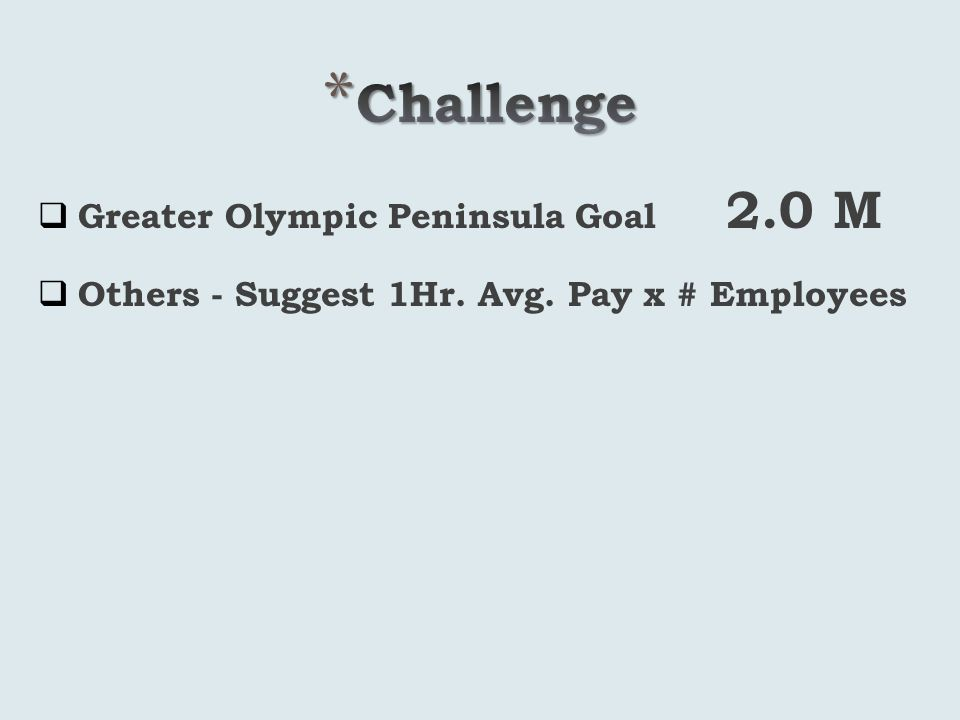 Greater Olympic Peninsula Goal 2.0 M Others - Suggest 1Hr. Avg. Pay x # Employees